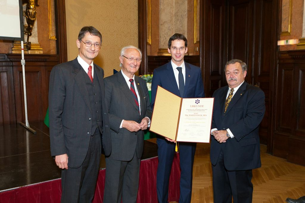 v.l.n.r. Michael Pöcksteiner (VÖK Vizepräsident), Ernst Pöcksteiner (VÖK Ehrenpräsident), Martin Payer (Geschäftsführer PCCL), Leopold Katzmayer (VÖK Präsident)